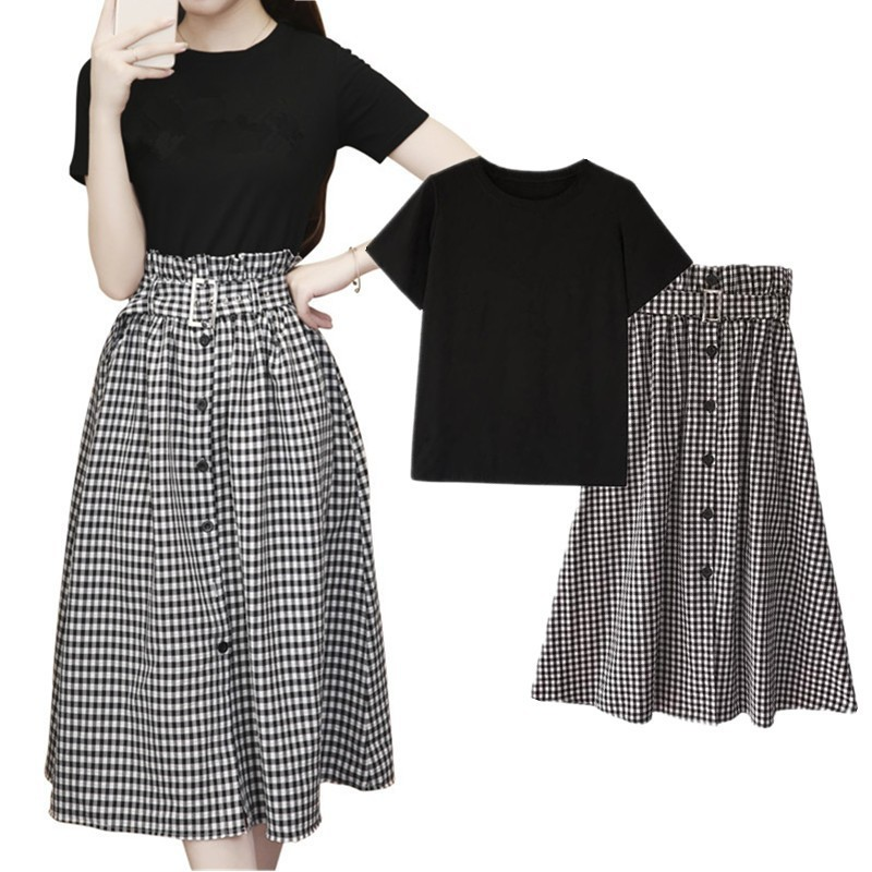 2019 Summer Elegant Office Lady 2 Piece Set Women Solid T Shirts + Plaid Long Ruffle Skirts Suit Formal Party Wear Plus Size 4XL