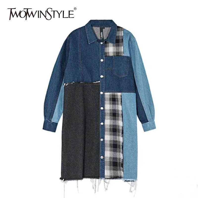 TWOTWINSTYLE Denim Patchwork Plaid   Trench   Coat Female Lapel Collar Long Sleeve Hit Color Long Windbreaker For Women 2019 Fashion