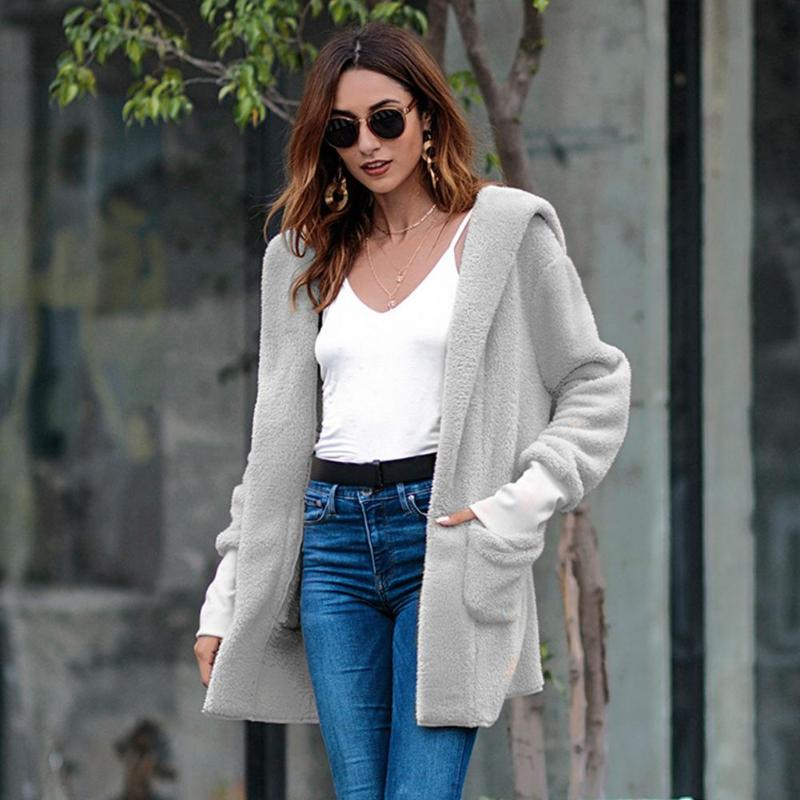 Women Fleece Hooded Coat Casual Women Autumn Winter Thicken Outwear Long Sleeve Solid Color Fashion Casual Female Overcoat