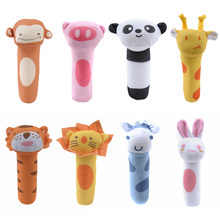 Baby Rattles BB Sticks Soft Cow Plush Doll Crib Bed Hanging hand catches Animal Toy Doll Kids Toy(China)