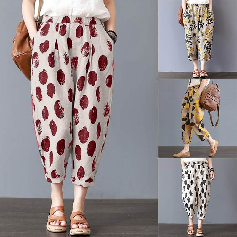 Women   Wide     Leg     Pants   ZANZEA 2019 Summer Ladies Vintage Dot Printed Cotton Trousers Pockets Harem   Pants   Pantalon Femme Plus Size