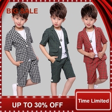 Children 2Pcs Plaid Short Sleeves Suit Kids England Style Blazer Boys Formal Wedding Clothing Set