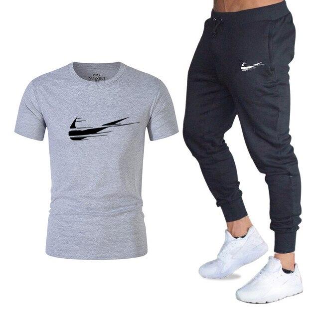 2019 Spor Salonları Rahat Gömlek Pantolon erkek Yaz Sıcak Satış Erkek T-Shirt + Pantolon Iki Adet Setleri Setleri eşofman Rahat Adam
