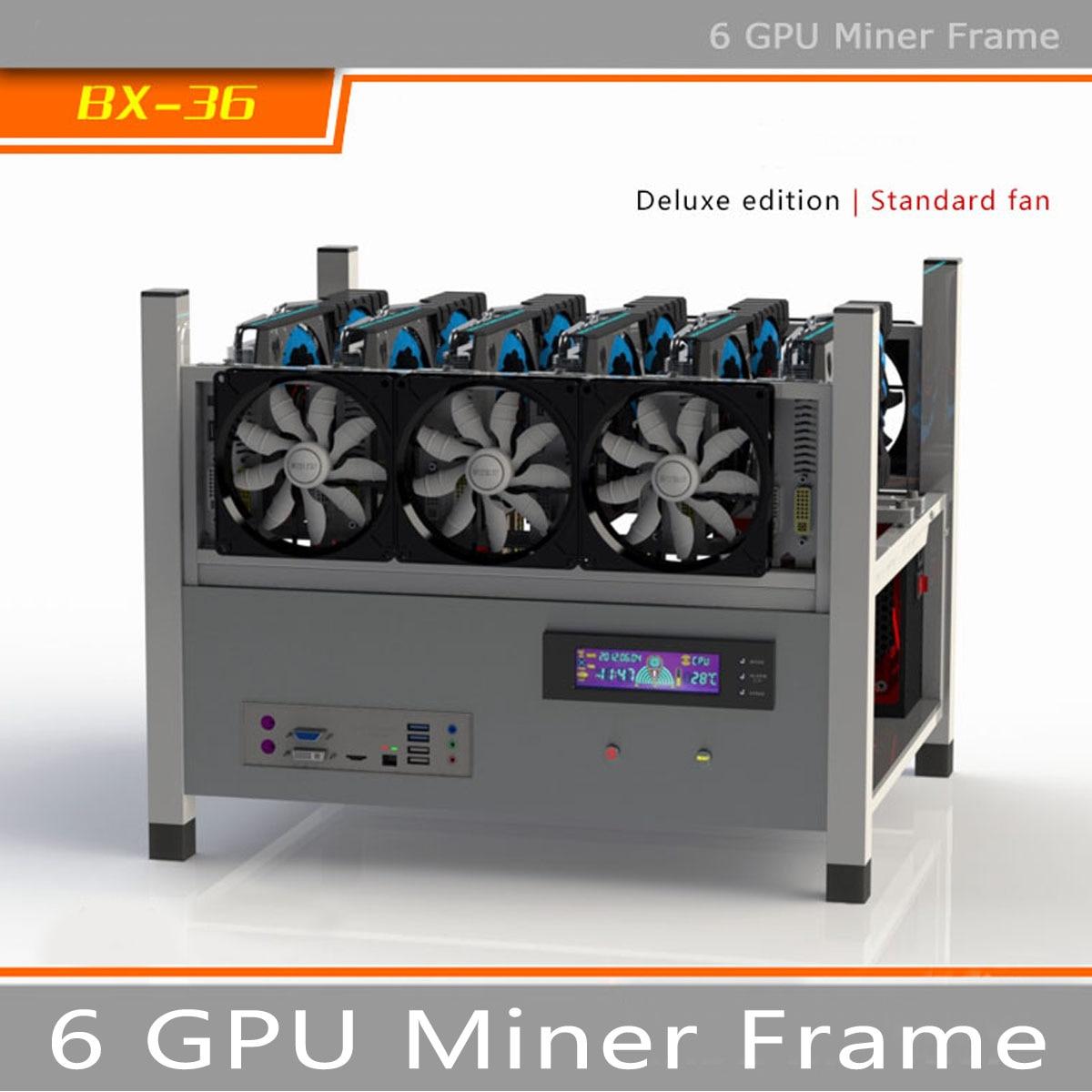 BX36 6GPU Open Air Ферма для майнинга рамки Шахтер случае ящик стиль Crypto монета для 6 вентиляторы компьютер добыча случае сервер шасси