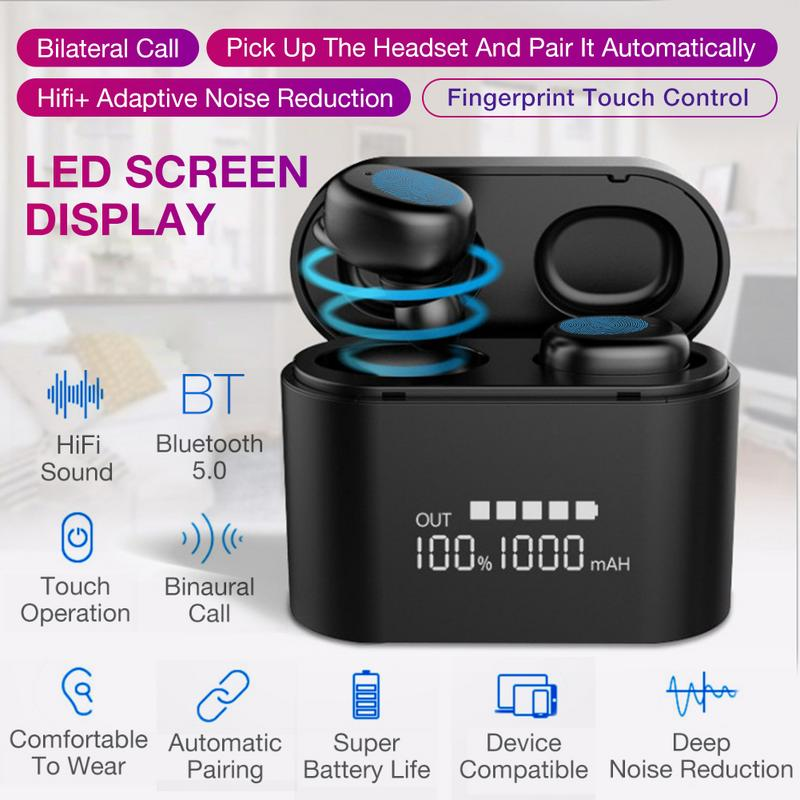 Intelligent Wireless Bluetooth Headset TWS 5.0 Bluetooth Input Noise Reduction Large Screen IP67 Waterproof Bluetooth Headset Intelligent Wireless Bluetooth Headset TWS 5.0 Bluetooth Input Noise Reduction Large Screen IP67 Waterproof Bluetooth Headset
