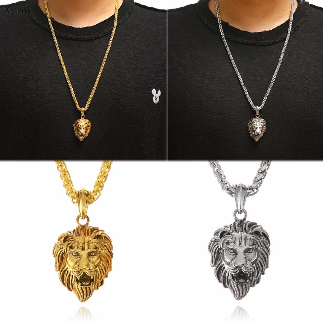 Men's Stainless Steel Luminous <font><b>Glowing</b></font> <font><b>In</b></font> <font><b>The</b></font> <font><b>Dark</b></font> Lion Head Pendant <font><b>Necklace</b></font> image