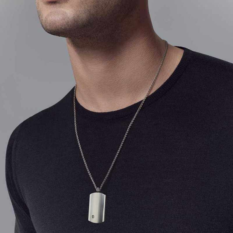 Modern Masculine Men's Stainless Steel Brushed Dog Tag with Cubic Zirconia Pendant Necklace Classically Designed Male Jewelry