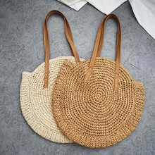 Round Straw Beach Bag Circle Rattan Women Bohemian Woven Shoulder Bag Handbag Handmade Bohemian Summer Vacation Casual Bags