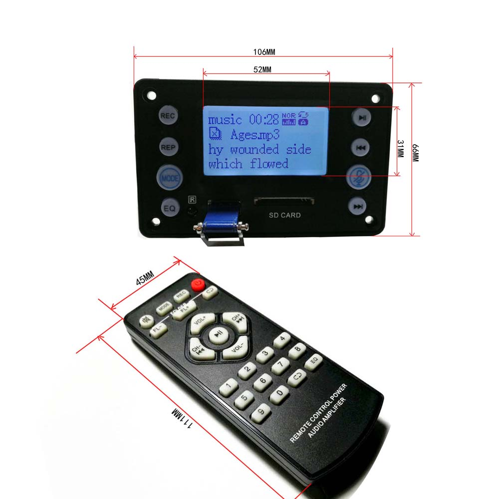 DYKB Digital LCD <font><b>Bluetooth</b></font> 4,2 MP3 Decoder Board Audio MP3 WAV WMA APE FM Radio Texte display USB-Player aufnahme <font><b>F</b></font>/Verstärker image