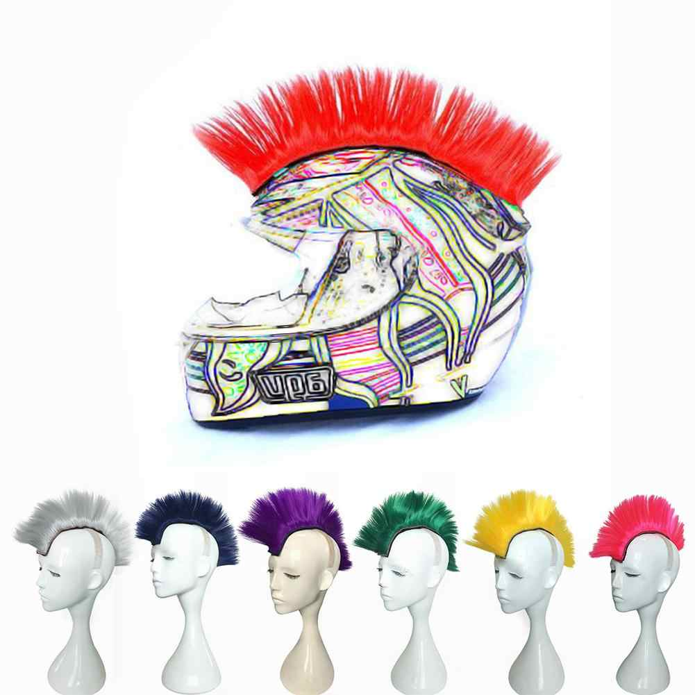 Colorful Modeling Wig Halloween Motorcycle Helmet Wig Chemical Fiber Mohawk Style Removable Helmet Hair Decoration Accessories