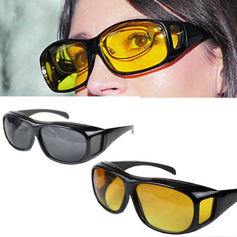5c852ed0b65 HD Vision Over Wrap Around Glasses Safety Night Driving Glasses Goggles Anti  Glare Protective Eyewear UV400