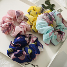 Chiffon Flowers Elastic Hair Bands Ponytail Scrunchies Pink Soft Rope Ties Girls Headwear Elegant New