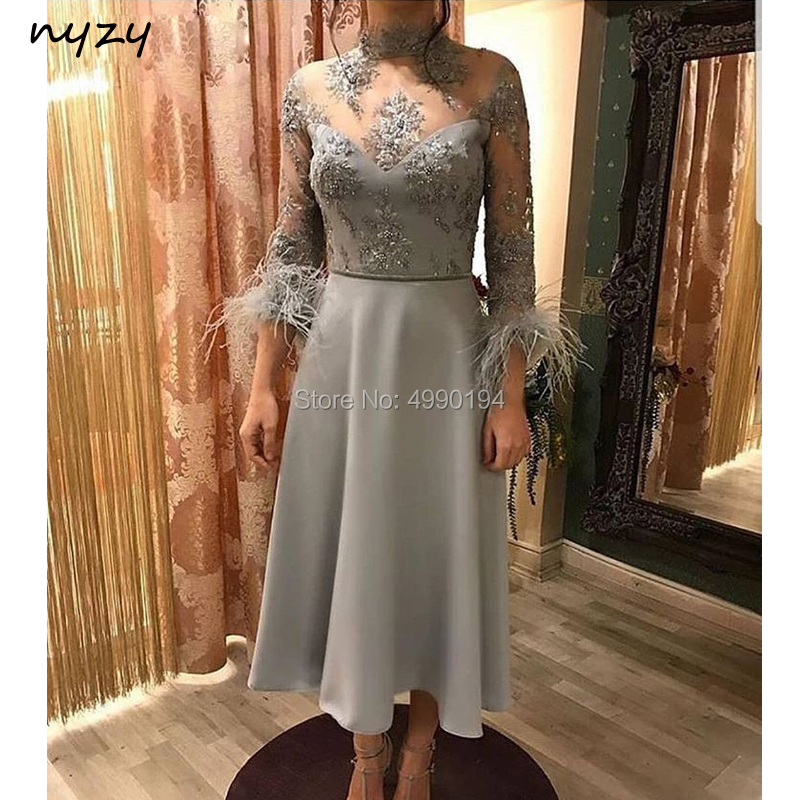 NYZY C28 Elegant High Neck 3/4 Sleeves Feather Arabic   Cocktail     Dresses   Silver Tea Length Party Gown robe soiree dubai 2019