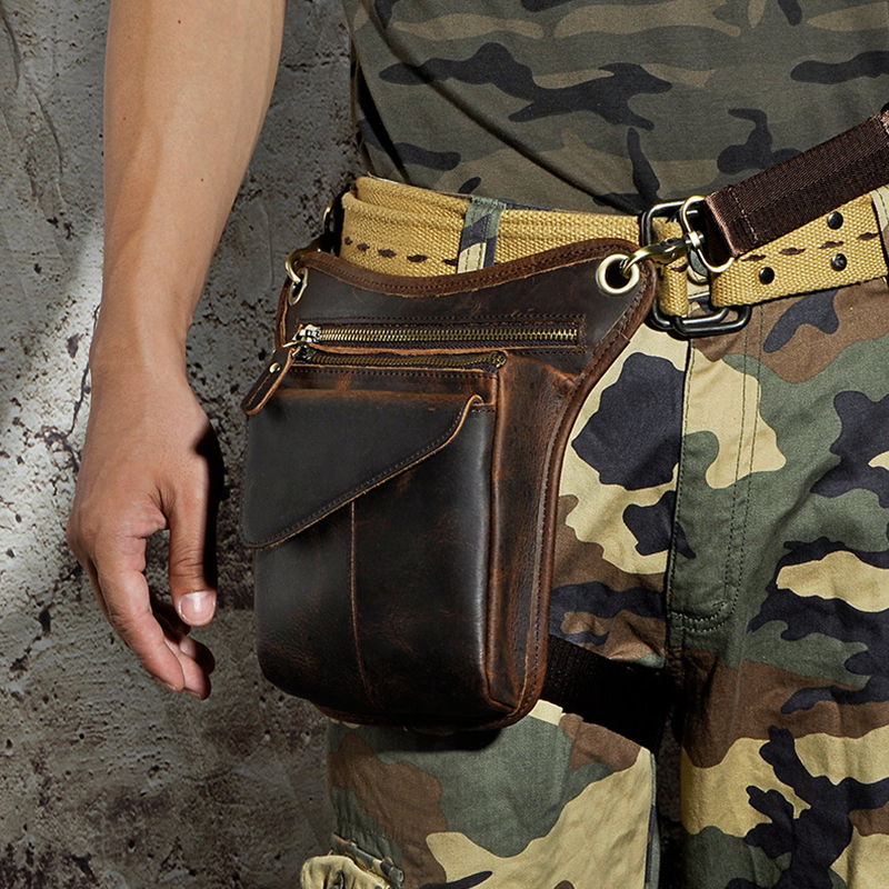 Norbinus Genuine Leather Men Waist Bag Motorcycle Thigh Drop Leg Bag Shoulder Crossbody Bags Male Belt Fanny Packs Camera Pouch