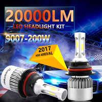 2pcs 9007 6500K HB5 COB DC 9-30V 200W LED Headlight Kit High Low Beam Light Bulbs 360 degree lighting