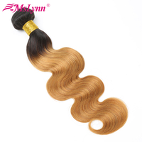 Body Wave Bundles Ombre Brazilian Hair Weave Bundles Human Hair Honey Blonde 3/4 Bundles 2 Tone Color T1B/27 Remy Mslynn