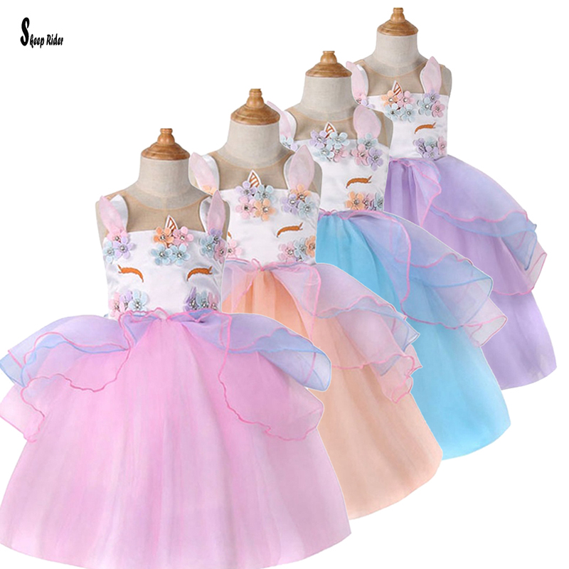 Girl Princess Summer Wedding Kids Unicorn Tulle Dress for Toddler Girls Embroidery Flower Floral Birthday Party