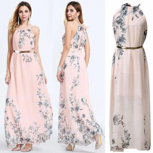 Женское длинное платье без рукавов, с цветочным принтом, для вечеринок и клубов, лето 2019