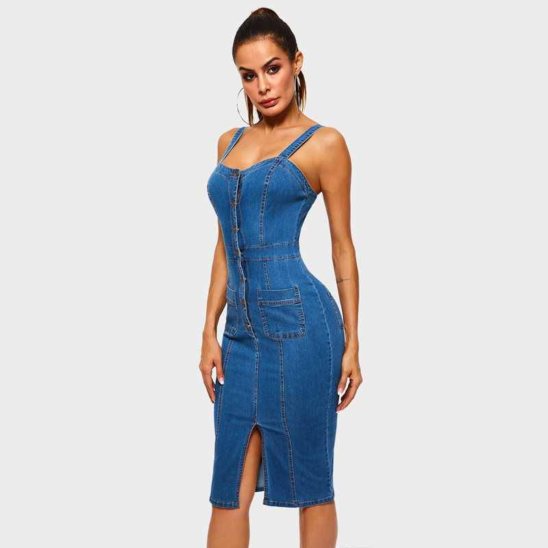 e7478123db Straps Denim Dress Women Blue Vintage Elegant Casual Sundress Fashion Hot  Sale Female Summer Street Sexy