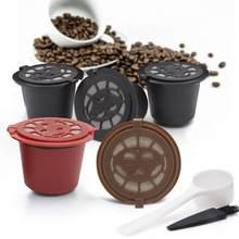 1Pc 3 uds Cápsula de café recargable reutilizable Herbruikbare Hervulbare máquina de Nespresso cápsula de plástico vasos de filtrado cuchara cepillo
