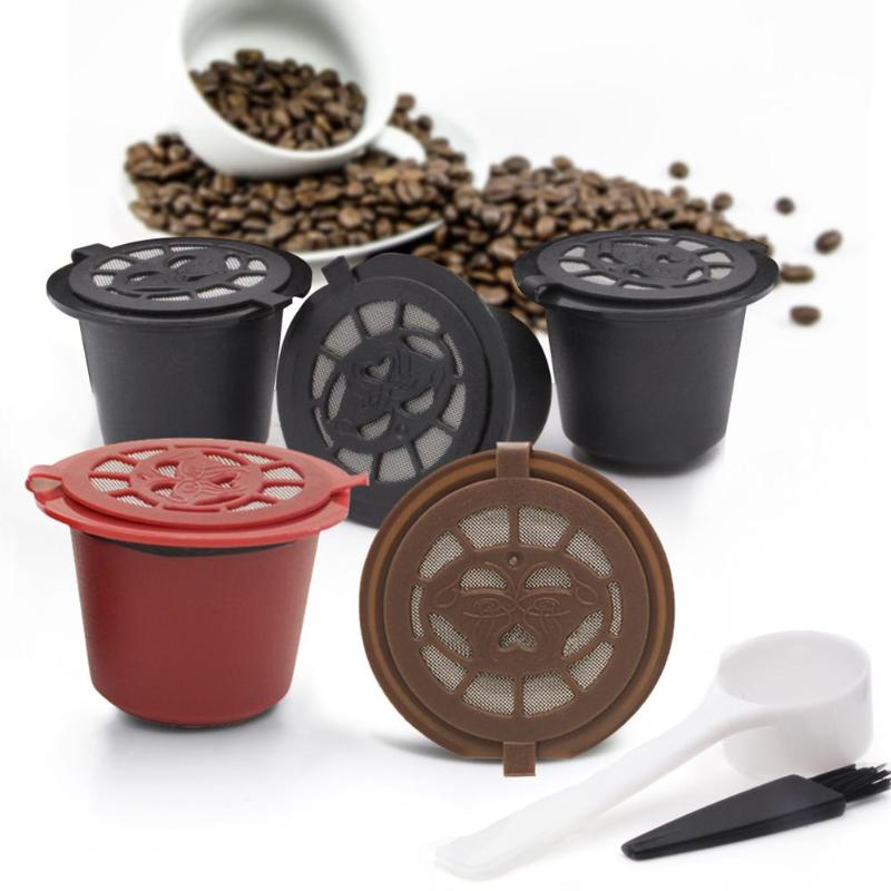 1Pc 3Pcs Coffee Capsule Reusable Refillable Nespresso Coffee Capsule With Plastic Spoon Filter Pod Brush