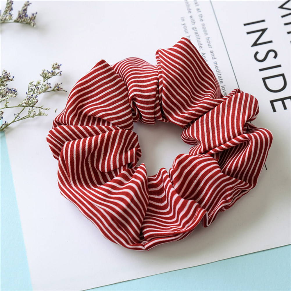 Fashion Women's Striped Hair Scrunchies Elastic Hair Rubber Band Girls Sweet Hair Accessories Rope Ties Ponytail Holder   Headwear