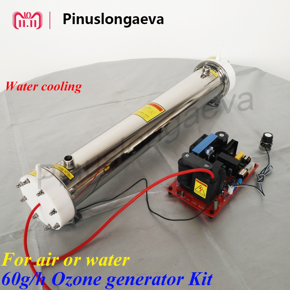 Pinuslongaeva 60g/h 60grams adjustable Quartz tube type ozone generator Kit waste water treatment ozonator for swimming pool to russia pinuslongaeva 12g h quartz tube type ozone generator kit water ozonator for water plant portable purifier ozonator