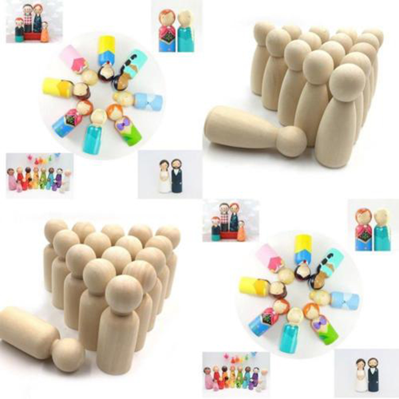 Wooden Dolls 20Pcs Natural Unfinished Wooden Peg Doll Bodies People Shapes Kids Toy Gifts NewWooden Dolls 20Pcs Natural Unfinished Wooden Peg Doll Bodies People Shapes Kids Toy Gifts New