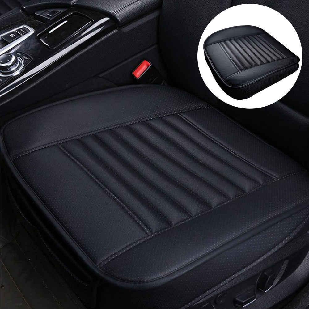 Cztery pory roku poduszka na siedzenie samochodu pokrycie siedzenia samochodu pokrycie siedzenia PU skóra węgiel pokrycie siedzenia bez oparcia (czarny)
