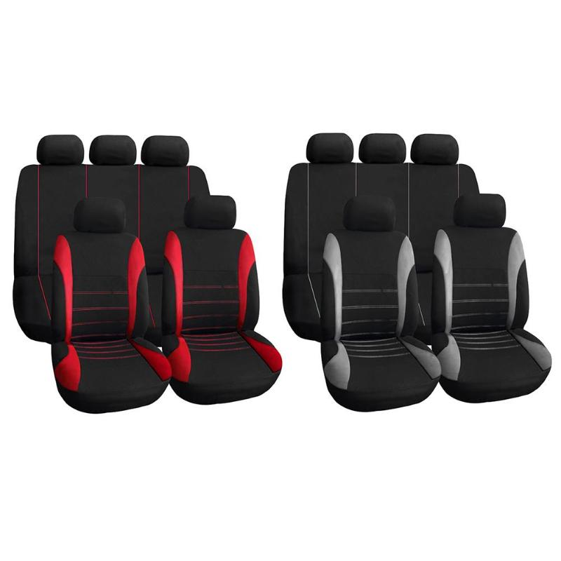 TIROL 9pcs Car Seat Covers Set with Front Seat+Back Seat+Head Rest Covers