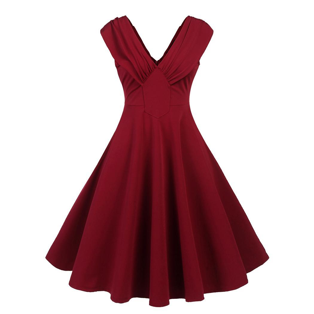 AL'OFA Women Vintage   Cocktail     Dress   V Neck Sleeveless Solid Party   Cocktail     Dress   Party Gown Formal   Dresses   Ladies Clothes