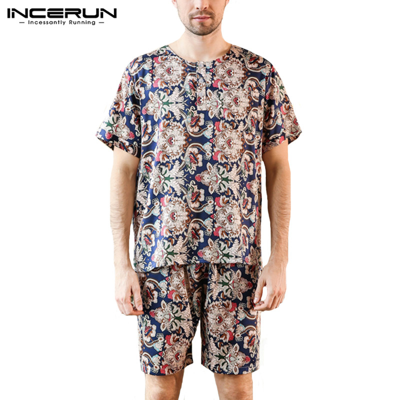 INCERUN Suit Pyjamas-Set Shorts Sleepwear Nightgown Print Tops Loose Leisure Men