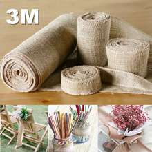 Burlap Linen Hessian Ribbon Roll Wedding Party Craft Decoration DIY Apparel Sewing Fabric Accessories 3 Meters 5/10/15/30cm(China)