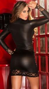 Image 3 - Mode Sexy dentelle noire Wetlook robe chaussures en faux cuir pour femmes gothique à manches longues moulante fétiche Clubwear Sexy danse Club robes