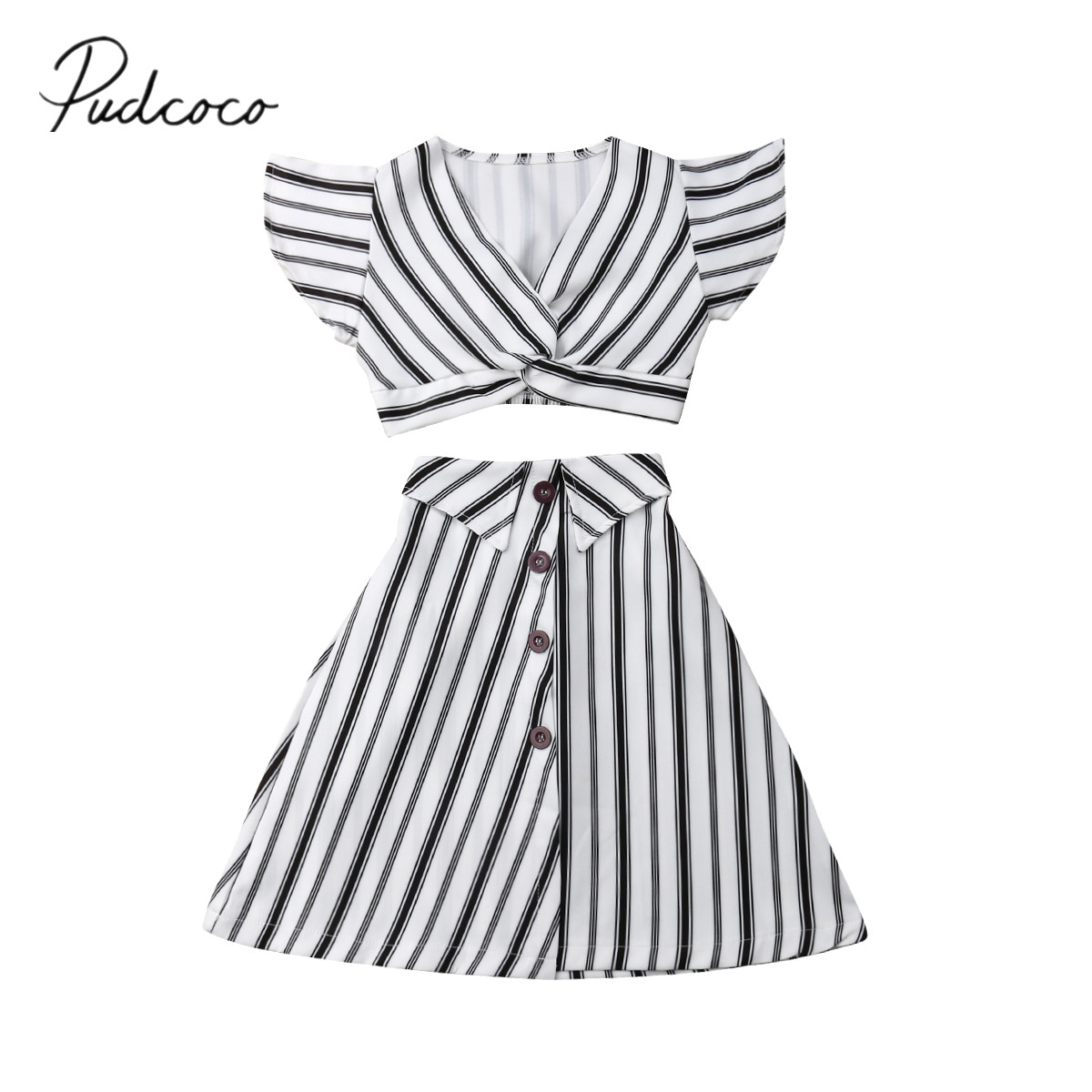 b63c6c7b64 2019 Brand New 3-8Y Toddler Kids Baby Girls Striped Clothes 2PCS Sleeveless  T-