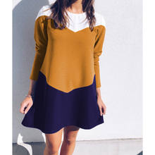 2018 Winter Color Patchwork Sweater Dress Women O Neck Long Sleeve Thick Knit Mini Dress Bodycon Female Slim Girl Short dress(China)