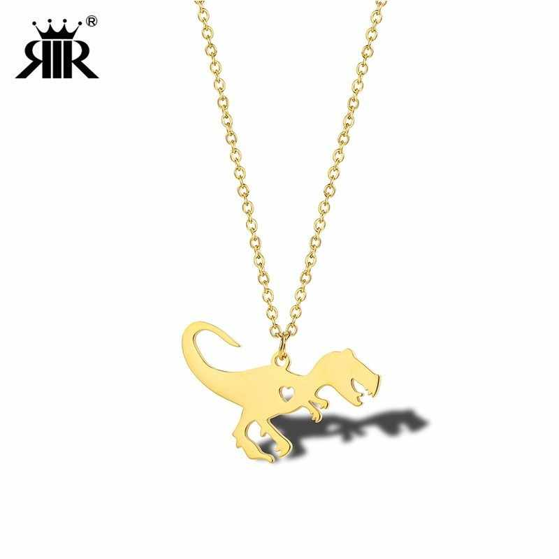 RIR Gold Dinosaur Necklace In Stainless Steel Animal Necklace Jurassic Dinosaur Pendant Necklaces