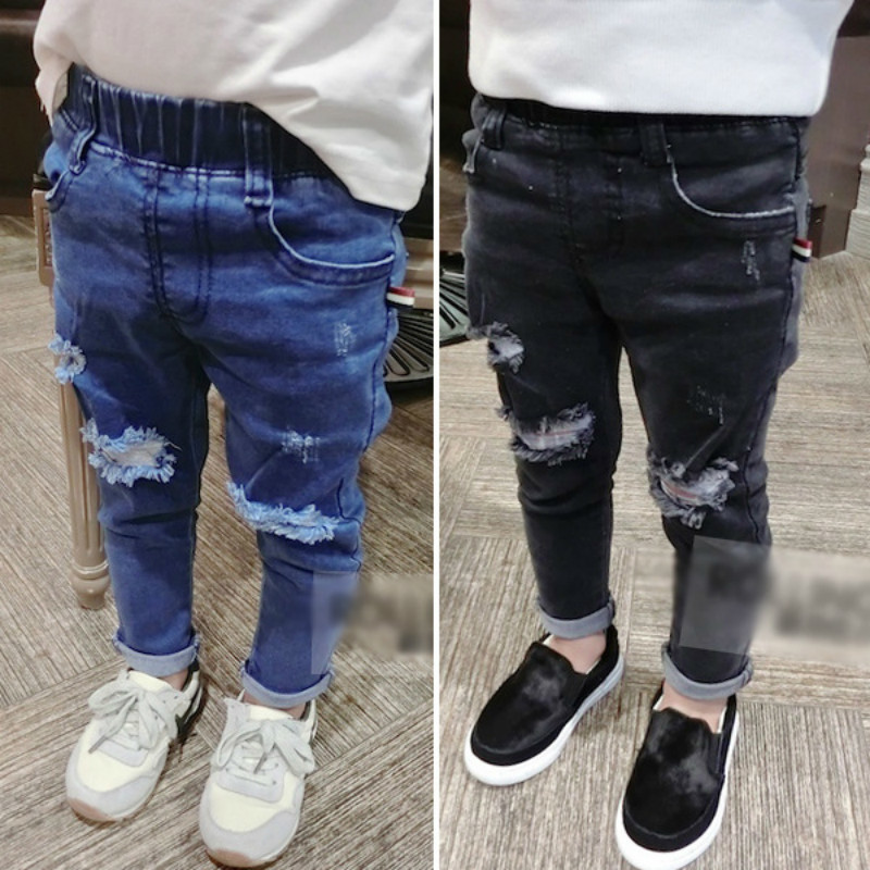 2019 Spring New Baby Jeans Children Ripped Middle Waist Jeans Baby Trousers Kids Slim Denim Long  Pants