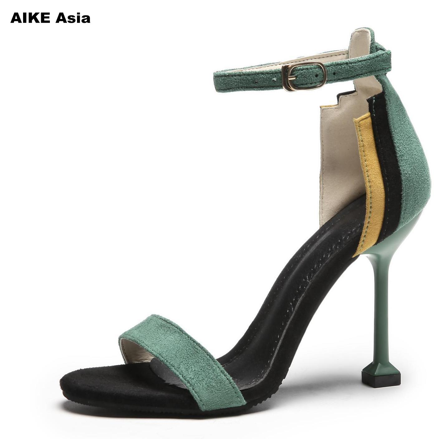 2019 Female Fashion Sexy Hollow With Sandals Summer Women Pumps  Womens Green Shoes Woman String Bead High-heeled  Peep Toe basic pump