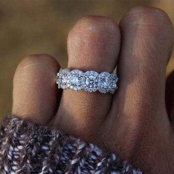 e245a9467fe0 Micro diamante compromiso anillo De Diamantes para mujer Anillos De cristal  Bague Etoile Bizuteria De Diamantes De oro blanco De 18 K con Diamantes