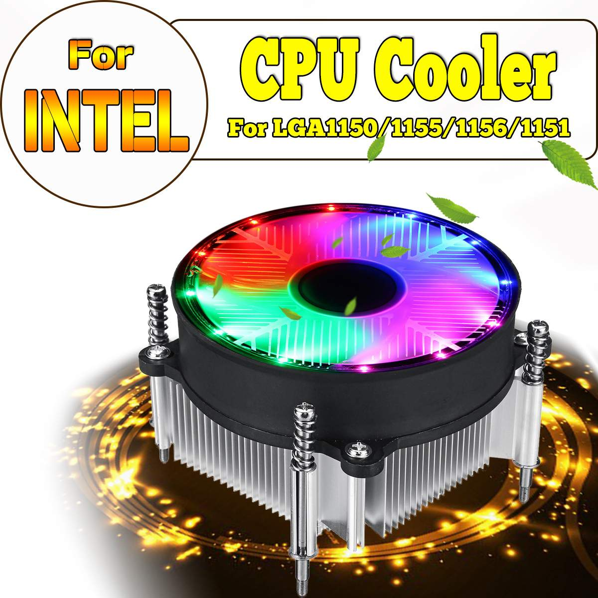 LED CPU Cooler Cooling Fan For Intel LED Silence RGB Fan Radiator Heatsink Cooler Support For Intel 115X 1150 1155 1156 1151