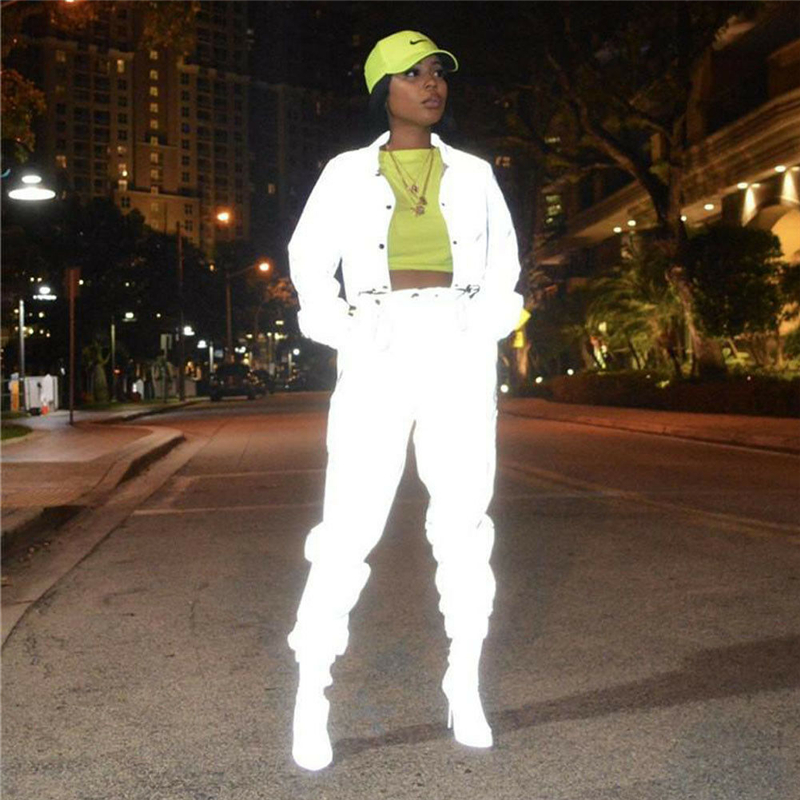 Image 2 - Hip Pop Streetwear 2Pcs Women Fashion Reflective Outfits Crop Tops Pants Sets Clothes Jumpsuit Playsuit 2 styles Night Club Wear-in Women's Sets from Women's Clothing