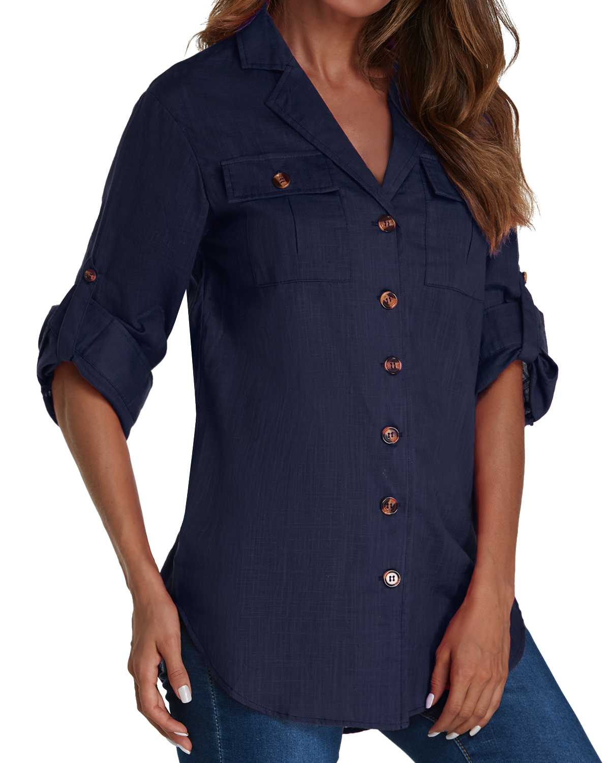 Casual Solid Hem   Blouse     Shirts   Women Elegant Turn-Down Collar Lapel 3/4 Sleeve Pockets Buttons Asymmetrical Top Blusas Femininas