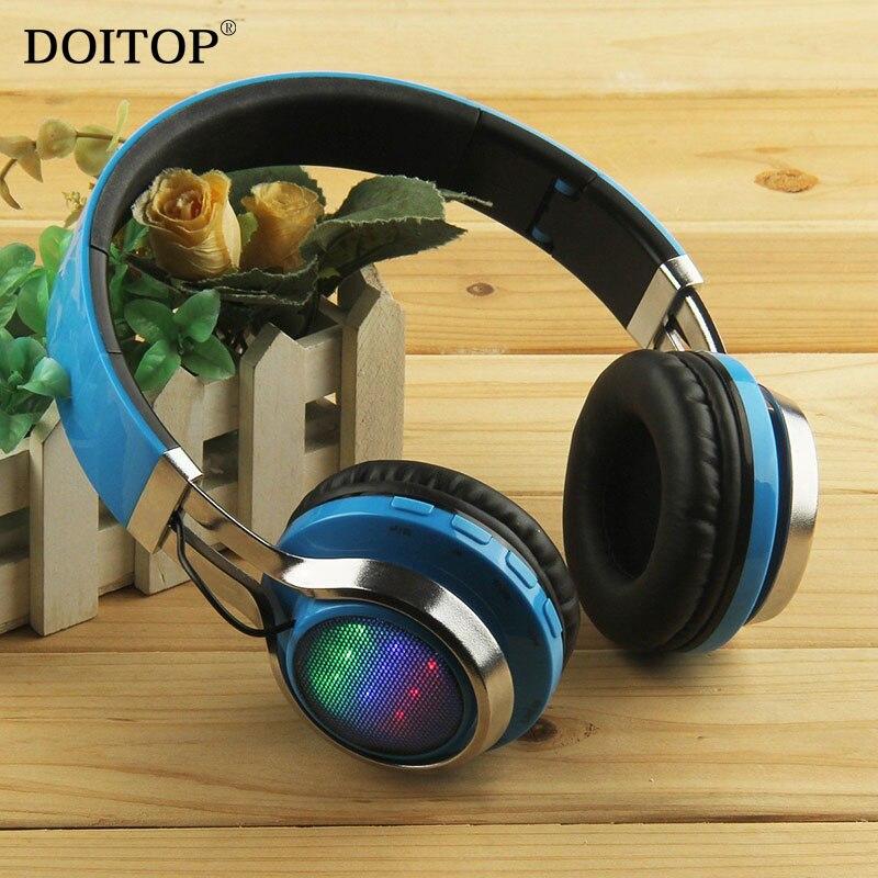 9ab18bace5e DOITOP plegable inalámbrica Bluetooth Estéreo auriculares Flash LED deporte  HIFI MP3 música auriculares auricular soporte FM TF tarjeta O5