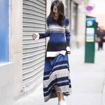 2019 automne hiver luxe Designer Flare manches chaud tricoté chandail élégant femmes o-cou deux pièces jupe ensemble de haute qualité