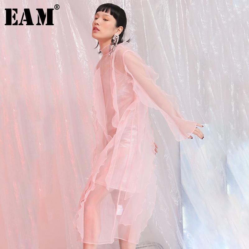 EAM 2019 New Spring Summer High Collar Long Sleeve Perspective Ruffles Three dimensional Temperament Dress