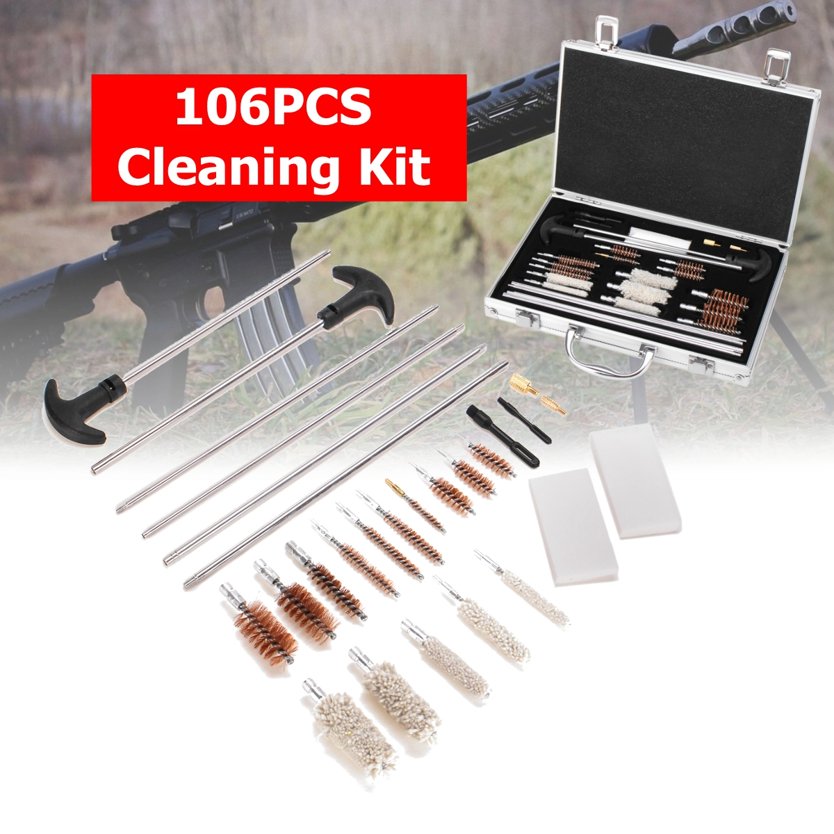 106Pcs Universal Gun Cleaning Tool Kit Rifle Handgun Shotgun Firearm Cleaner Pistol Pipe Mop Brush Accessory with Carry Case