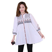 2019 new loose embroidery pregnant women shirts plus size long sleeve v-neck single breasted cotton blouses maternity mini dress(China)