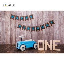 Laeacco 1st Birthday Party Backdrop Toy Blue Car Photography Background Customized Photographic Backdrops For Photo Studio