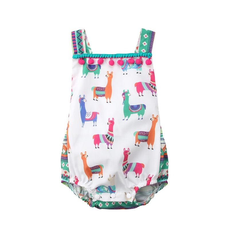 Cute Tassel Bodysuit Baby Girl Cartoon Alpaca Print Infant Jumpsuit Summer Backless Clothing Sleeveless Bandage Fashion Bodysuit